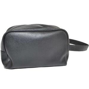 Pochette grande uomo borsa a mano nero semitonda con zip e chiusura a portafogli