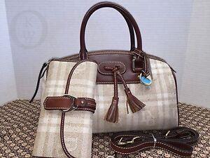 *DOONEY & BOURKE* Tan/Tweed/Plaid Speedy & Wallet*Purse/Shoulder Bag 16253U