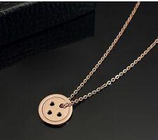 """Button Unique Pendant Necklace Chain 16""""-18"""" 13mm Rose Gold Plat Titanium Lucky"""