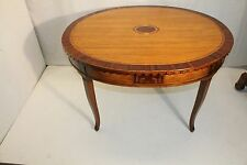 Gorgeous Inlaid Satinwood & Rosewood Continental Style Oval Center Table