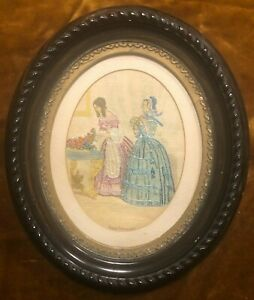 RARE - 1860 ANTIQUE GODEY'S FASHIONS EMBROIDERED CLOTH OVAL FRAMED PICTURE PRINT