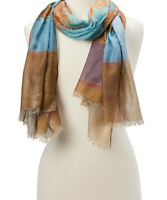 Blue Copper Block Printed Scarf Shawl Wraps Scarves Girls Casual Summer Scarf