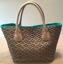Deux Lux Woven Tote Medium Pewter/Brown/Green Faux-Leather Trim Great!!
