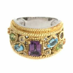 HSN Sima K 1.92ct Amethyst & Multigemstone 2 Tone Band Ring 7