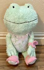 Hallmark ~ Lila Frog ~ Plush ~ Lovey ~ Green /Pink / Floral ~ 14� ~ Fuzzy Soft