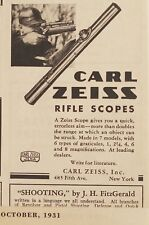 Vintage Carl Zeiss Rifle Scopes 1931 Print Ad - Free Ship