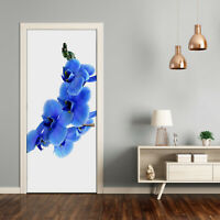 3D Home Art Door Self Adhesive Removable Sticker Flowers Plants Blue orchid