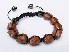 Gemstone bracelet Turquoise  Brown SKULL HEMATITE Beaded Adjustable Bracelet