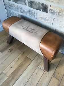 Large Genuine Leather and Canvas Bench pommel horse style Foot stool