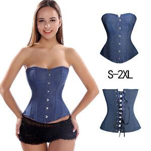 Black Blue Denim Jeans Steel Bones Lace up Steel Busk Full Bust Corset 2XS~7XL