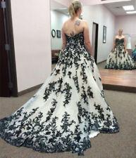 Gothic Black White Applique Wedding Dresses Vintage Strapless Bridal Gown Custom