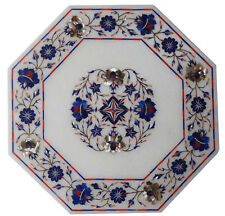 White Marble Micro Mosaic Inlay Side Pietra Dura Coffee Table Top Antique Style