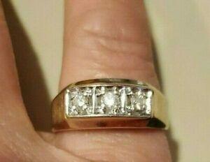 14k Yellow Gold Mens Diamond Ring 6.20g