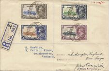 NIGERIA 1935 SILVER JUBILEE SG30/3 ON REG COVER TO SOUTHAMPTON