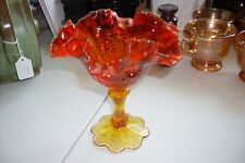 VINTAGE AMBERINA CRIMPED CHERRY PATTERN FOOTED COMPOTE NICE PIECE