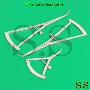 3 Pcs Long Castroviejo, Medium & Small Caliper Graduated 0-40mm Dental
