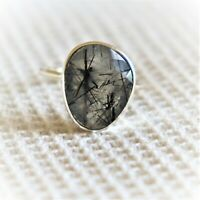 Natural Black Rutile Quartz Handmade 925 silver Plated Ring Jewelry Size 8.5 US Jewelry J 5476