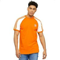 adidas originals 3 Stripes T Shirt Mens Orange White Sports Gym Fitness Tee