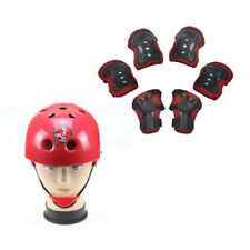 Red Roller Skating Bicycle Racing Helmet Knee Elbow Protective Gear Kids Gift