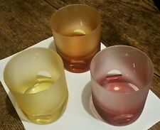 LOT of 3 MOSER Tipsy Frosted Crystal DOF Glasses Czech FUN & RARE