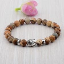 Men's Natural Gem Spots Beads Buddha Head Beaded Lava Rock Handmade Bracelets