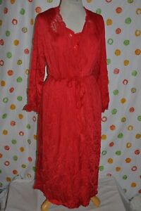 FREDERICKS OF HOLLYWOOD Women`s 2 pc Nylon Red SEXY long night GOWN & ROBE USA