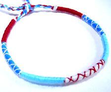 Bracelet Brésilien Amitié Friendship Porte Bonheur Coton bleu blanc rouge