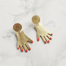 Personalized Tiny Tone Dangle Hand Earrings Red Nails Golden Women