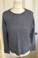 Ladies New Look Blue White Fleck Crew Neck Long Sleeve Casual Jumper Size 8 B75