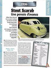 VOITURE STOUT SCARAB - FICHE TECHNIQUE AUTOMOBILE 1936 COLLECTION CAR