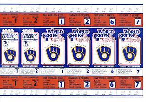 (6) 1983 BREWERS World Series ticket un cut sheet 6 tickets phantom Robin Yount