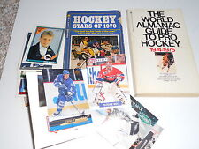 2 Old Hockey Books 1970's & 12 cards NHL Roy Berard Dipietro Wood Barrasso Smith