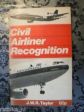 AIRCRAFT CIVIL AIRLINER RECOGNITON TAYLOR 1975 BOOK,AIRFIX,GUPPY 201,BAC,SHORT