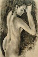 YARY DLUHOS ORIGINAL ART OIL PAINTING Nude Woman Figure Girl Vintage Style
