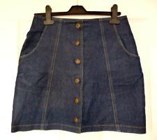 Blue Denim Mini Skirt - Pockets - Buttons - Size 10