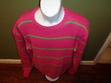 Polo Ralph Lauren Hand Knit Heavy  Sweater Mens Large FLOURESCENT PINK GREEN XL