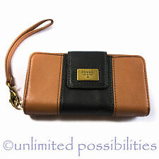 FOSSIL Quinn Zip Multi Clutch Wallet New Leather Brown Tags