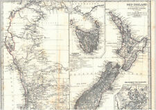 🎄Alte Landkarte NEUSEELAND New Zealand 1875
