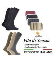 3 PAIA CALZE ELEGANTI LUNGHE UOMO 100% COTONE FILO SCOZIA ITALIA