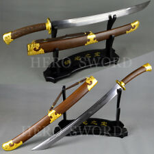"""Battle Ready Chinese Sword Damascus Folded Steel Qing Dao""""清刀"""" Special Price Sale"""