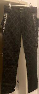 Devil Fashion Gothic Samtflockhose schwarz mit Schnürung Gr. M