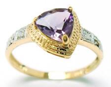 SYJEWELRYEMPIRE 10KT YELLOW GOLD TRILLION AMETHYST & DIAMOND RING SIZE7 R914