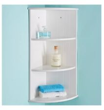 Modern Bathroom White 3 Tier Corner Floating Wall Shelf Storage Shelves