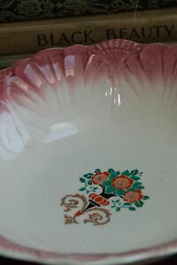 "TRUE RED RIM VINTAGE NOUVEAU DECO SERVING BOWL CERAMIC 9.75"" WIDE DECO c. 1920's"