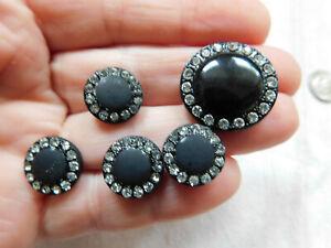Antique black glass rhinestone button lot~clear rhinestones~G3