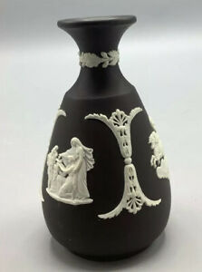 Wedgwood Jasperware Black with White Relief Vase