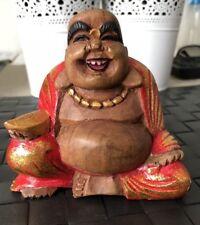 Vtg Hand Carved Wooden Buddha Laughing Happy Weird 11cm Indonesia #SundayMarket