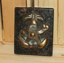 Vintage hand made bronze/marble wall hanging plaque abstract figurine