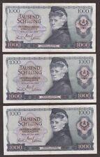 AUSTRIA 1000 SHILLING 1966 LOT OF THREE BANKNOTES.