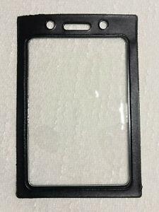 Black ID Badge Holder Vertical, Clear window w.Color Vinyl Border, Lanyard Holes